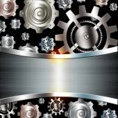 Abstract background metallic chrome silver with gears — Stock Photo