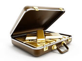 Gold ingots in briefcase — Stock Photo