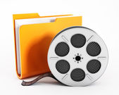 Folder and film reel — Stock Photo