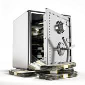 Peníze v bezpečí oceli — Stock fotografie