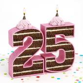 Number 25 shaped chocolate birthday cake with lit candle — Stock Photo
