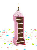 Number 1 shaped chocolate birthday cake with lit candle — Stock Photo