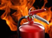 Fire extinguisher on flame background — Stock Photo