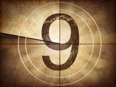 Old movie countdown number 9 — Stock Photo