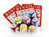 Bingo balls and cards — Stock Photo