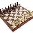 ������, ������: Chess board with wooden chess pieces