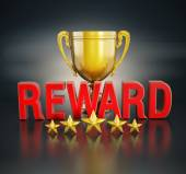 Reward text and gold cup — Stockfoto