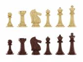 Black and white chess pieces isolated on white background — Stock Photo