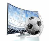 Ball and net going out of curved TV with OLED screen — Stock Photo