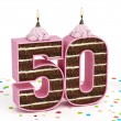 Number 50 shaped chocolate birthday cake with lit candle — Stock Photo #70205087