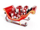 Santa's sleigh full of presents — Stock Photo