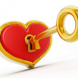 Gold shape opening red heart — Stock Photo #70884117