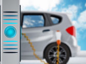 Electric car in charging station — Stock Photo
