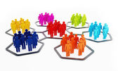 Multi-colored people in hexagons attached to each other — Stock Photo