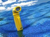 Yellow periscope over water — Stock Photo