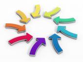 Wielu kolorowych strzałek znaki tworzące kształt koło — Zdjęcie stockowe
