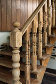 Wood staircase, banister carving wooden thai style — Stock Photo