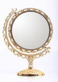 Golden makeup mirror isolated — Stock Photo
