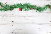 Christmas decoration on white wood weathered background — Stock Photo