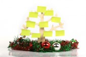 Paper note decorated on christmas day, isolated — Stock Photo