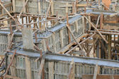 Cement pouring structure at construction house — Stock Photo