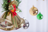 Christmas background, bell decorate on white curtain — Foto de Stock