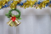 Christmas background, bell decorate on white curtain — Stock Photo