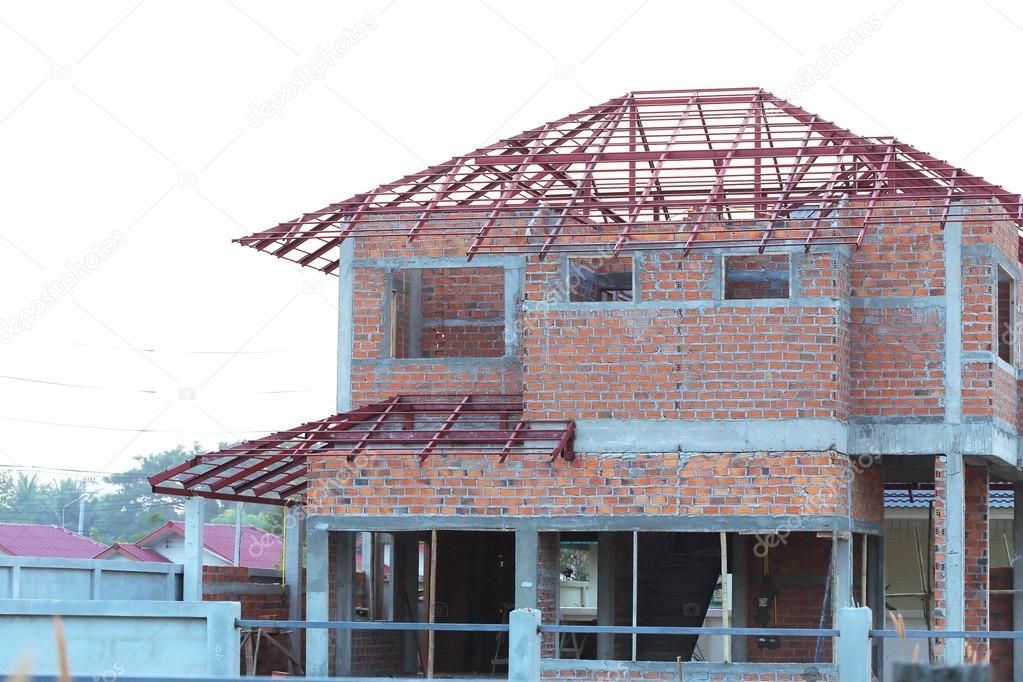 Estructura de la casa de construcci n hecha de cemento y - Precios de ladrillos para construccion ...
