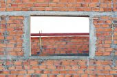 Brick wall in residential building construction site — Stock Photo