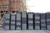 Black tiles roof in building construction site — Stock Photo