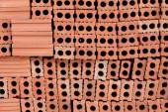 Brick block in residential construction site — Stockfoto