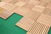 Ahşap kahverengi blok tahta zemin dekorasyon için — Stok fotoğraf