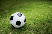 Voetbal op groen gras — Stockfoto