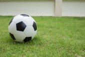 在绿色草地上足球球 — 图库照片