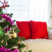 Living room interior decorated christmas eve — Stock Photo