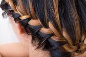 Braid long hair style on woman head — Stock Photo