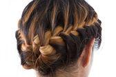 Long hair braid style isolated on white background — Stockfoto