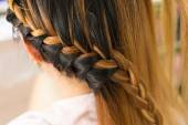 Long braid creative brown hair style in salon beauty — Stockfoto