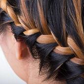 Braid long hair style on woman head — Stockfoto