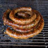 Grill smoked sausage, food of northern thailand — Stock fotografie
