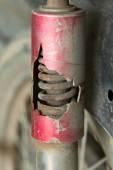 Motorcycle chock absorber rusty crack broken — Stock Photo