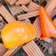 Hard hat safety helmet in construction site — Stock Photo #61358761
