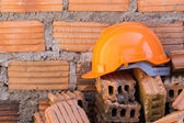 Construction helmet safety for protect worker — Stock Photo