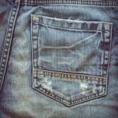 Back pocket of fashion blue jeans — Stock Photo