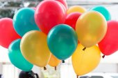 Colorful balloons with happy celebration party background — Stockfoto
