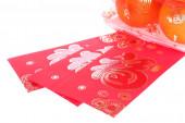 Red envelope and orange fruit of chinese new year decoration — Stock Photo
