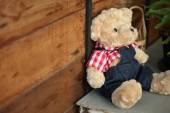 Doll teddy bear baby decorated in home with wood wall — Stock Photo