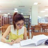 Study education, woman writing a paper, working women — Stock Photo