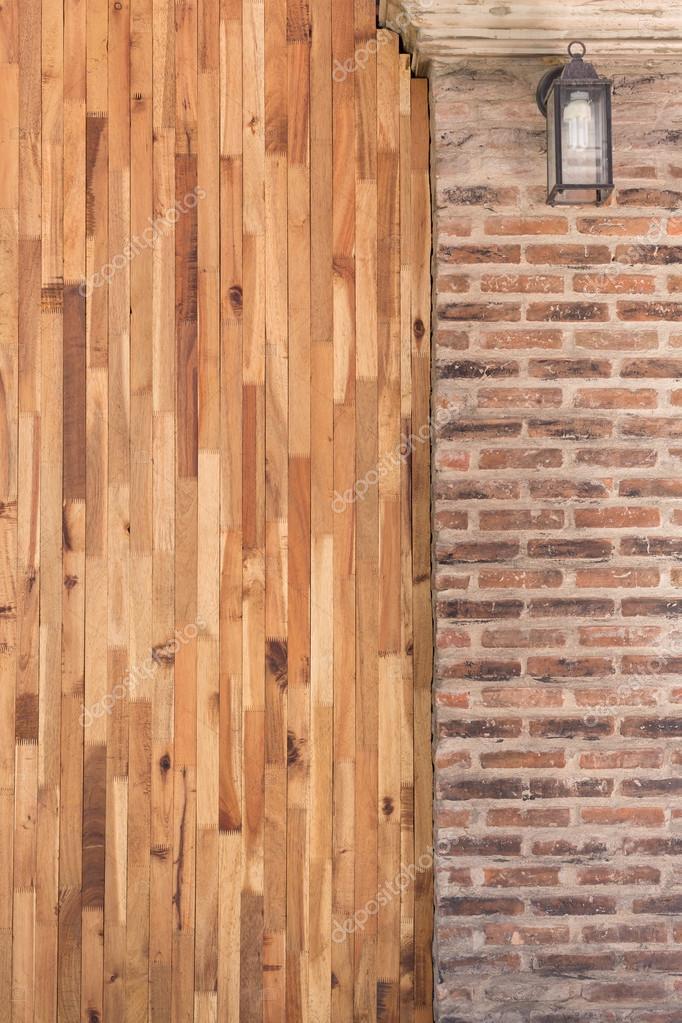 나무와 시멘트 벽돌 벽 인테리어 홈의 디자인 — 스톡 사진 ...