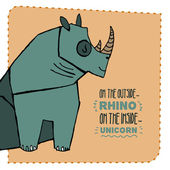 Rhino hand drawn illustration. Vector illustration. — Stock Vector